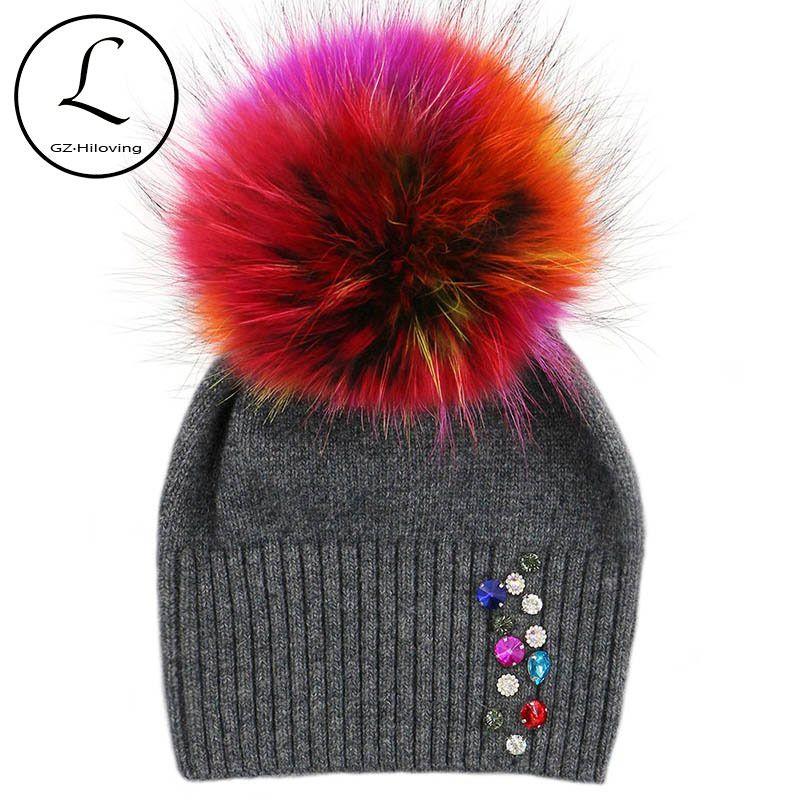 4764068cd99 GZHILOVINGL 2017 New High Quality Women Winter Diamond Knitted Wool Hat  Winter Skullies Beanies Fashion Winter Fur Pom Pom Hats C18111601 Beanie  Caps ...
