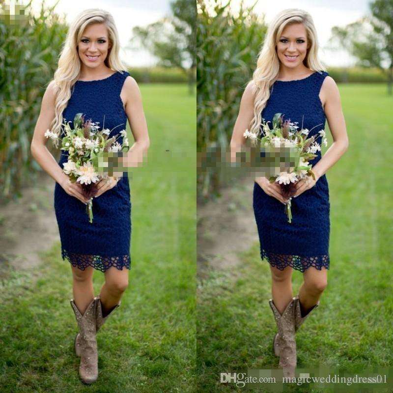Chic 2018 navy blue Lace Short Country Bridesmaid Dresses Cheap Jewel Zipper Back Knee Length For Western Causal Junior Wedding Party Gown