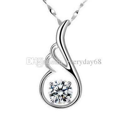High quality Romantic Crystal CZ diamond pendant without chains Sterling Silver white purple Cubic zirconia Heart charm fit necklace Jewelry