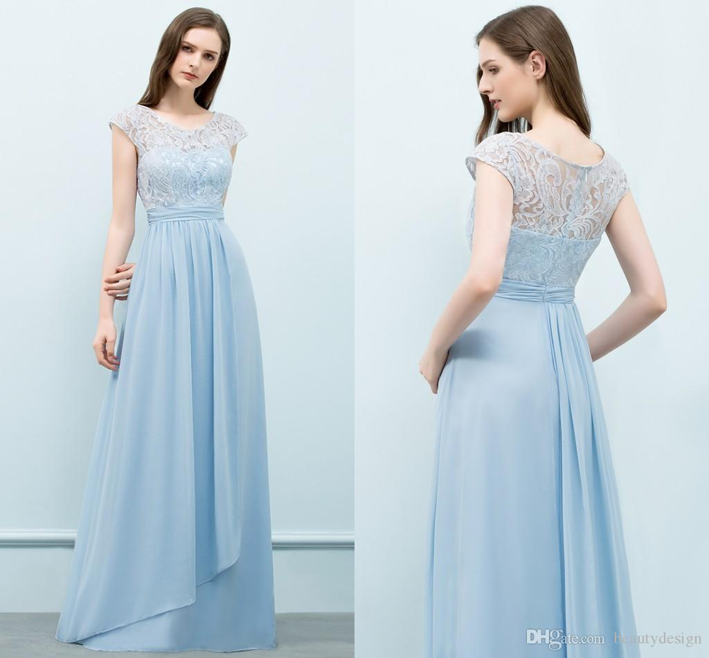 Country Long Bridesmaid Dresses 2018 Cheap Light Sky Blue Chiffon Jewel Floor  Length Applique Party Wedding Guest Dress Maid Honor Gowns Dresses For  Wedding ... ebaf186eb3c3