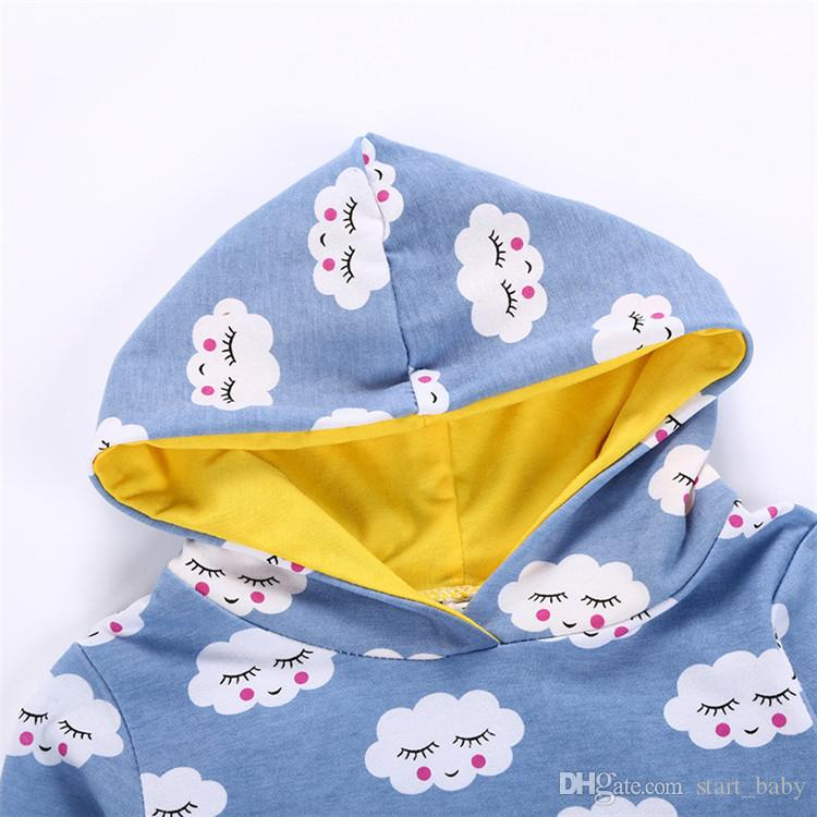 Baby boys cloud printing hoodie sets blue printing hooded hoody+white pants toddlers cute casual outfits for 0-2T B11