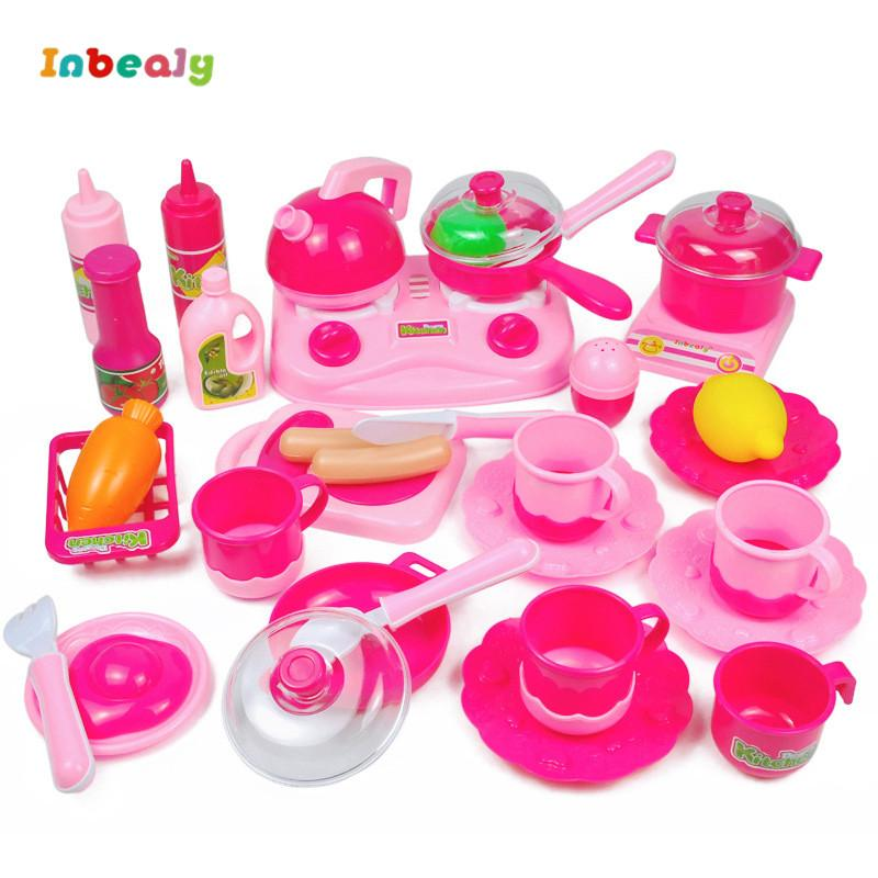 Inbeajy Children s Kitchen Toys Classic Cooking Toys For Children Pretend  Play Simulation Tableware Kettle Set Kids Educational