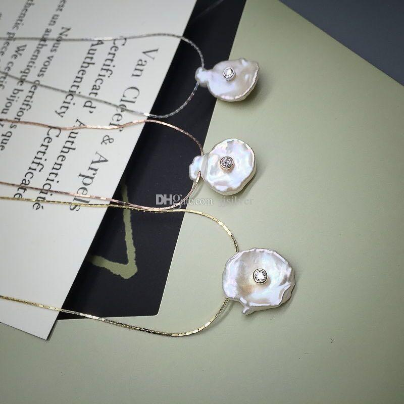 2018 el último estilo Collar de perlas puras irregulares La verdadera cadena de plata esterlina 925 Conjunto de perlas Pendiente y collar Conjunto de joyas Joya fina
