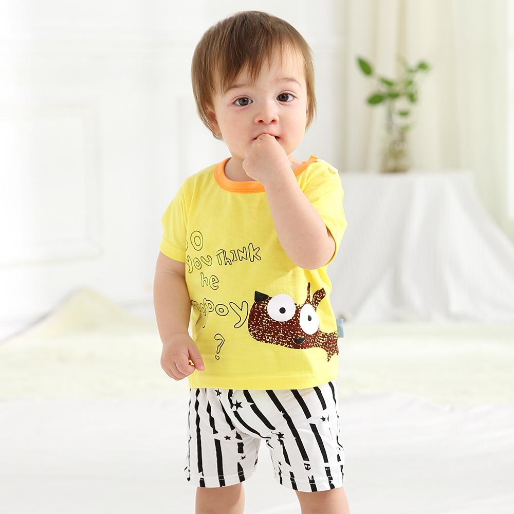 ab1c678f9e 2019 Summer Baby Boy Girl Clothes Sets Boys Cartoon Print T Shirts ...