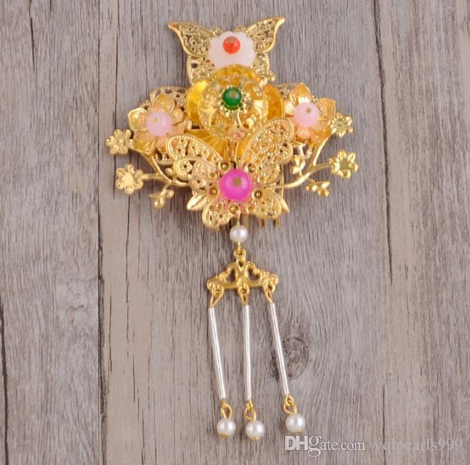 Bridal costume, ornaments, flowers, hairpin sets, Qipao Xiu, Phoenix crown, gold handmade accessories.