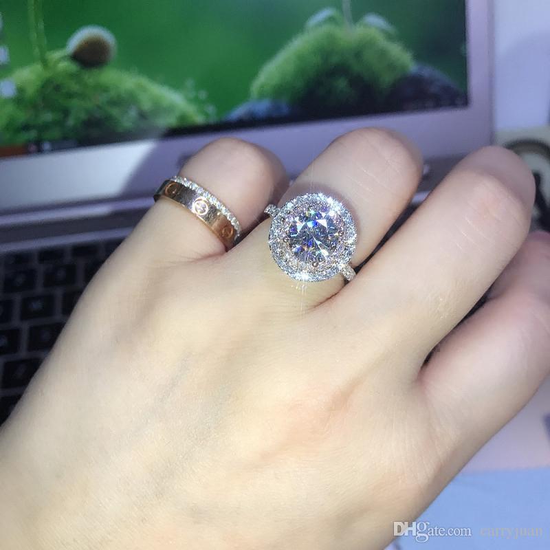 Victoria Wieck El Yapımı Lüks Takı 925 Ayar Gümüş Yuvarlak Kesim PembeBeyaz Safir CZ Elmas Taşlar Renk Kadınlar Düğün Band Yüzük