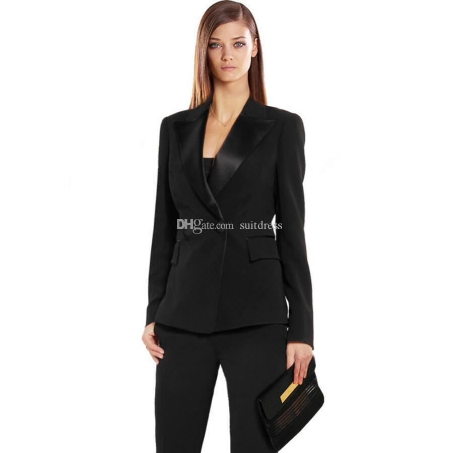 2019 Women Pant Suits Black Autumn Bussiness Formal Elegant Set Blazers  Pants Office Uniform Suits Ladies Pants Suits Trouser From Suitdress c8119b4bc