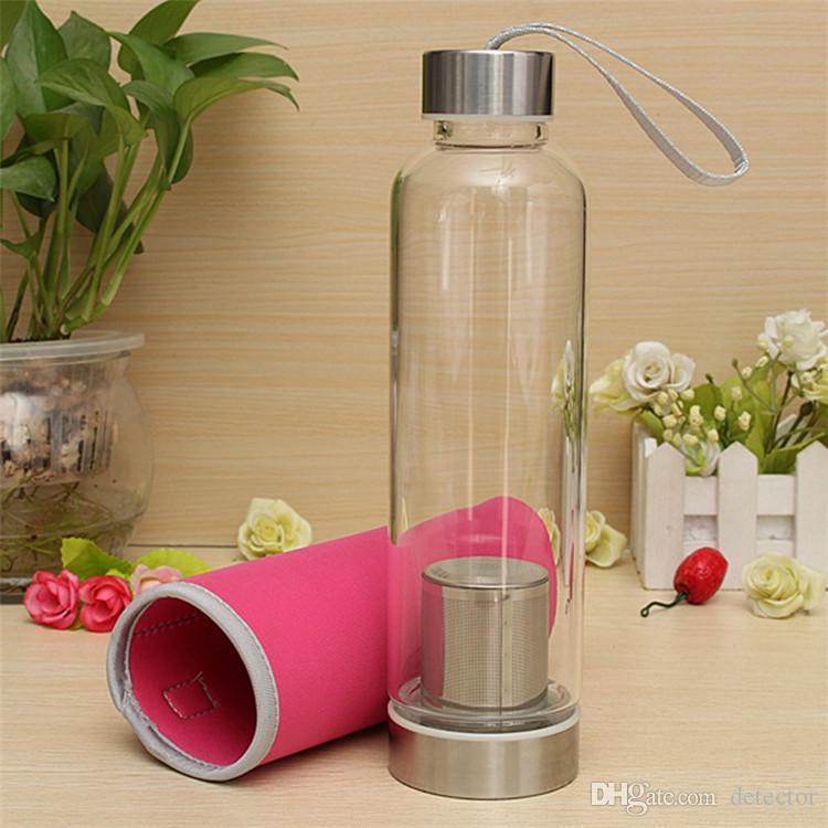 Botella de agua plástica del deporte de BPA de la alta temperatura resistente de 550Ml con el filtro del té Botella de agua del infuser el jarro de agua del jarro protector