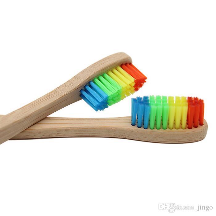 DHL del arco iris de bambú cepillo de dientes cepillo de dientes de madera ambientalmente cerda suave del Jefe de bambú mango del cepillo de dientes para adultos Oral Care nt