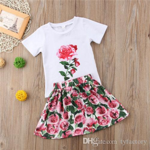2018 Toddler Kid Baby GirlS Outfits Clothes T-shirt Tops+Floral Dress Skirt Sets Kids Clothing Wholesale Boutique Clothes