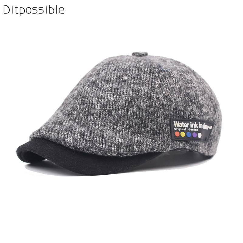 5c03e4b5fba Ditpossible Fashion Knitted Beret Hats Men Caps Adjustable Casquette ...
