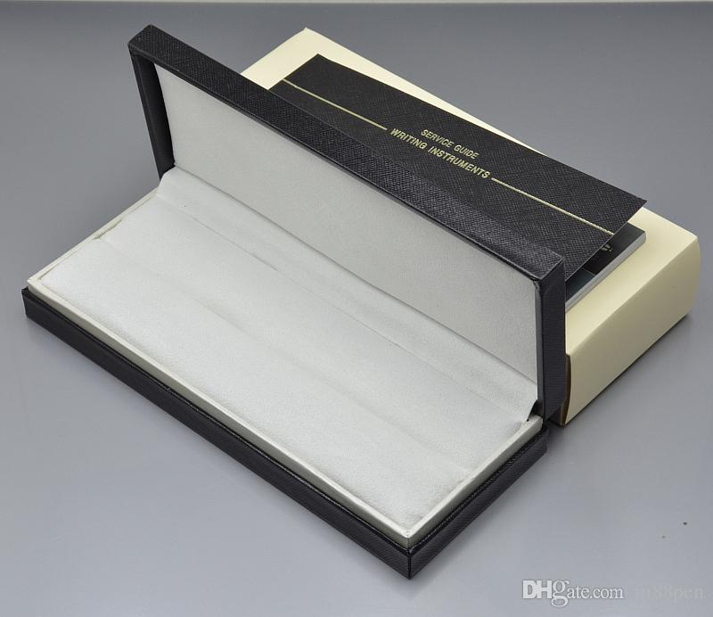 Hochwertiger schwarzer Holz-Leder-Stiftkastenanzug für Füllfederhalter / Kugelschreiber / Rollkugelschreiber Bleistiftkoffer mit dem Garantiehandbuch A8