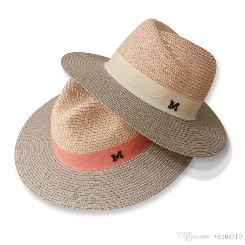 29096670 Wholesale GGOMU Hot Sale Summer Sun Hats For Women M Letter Wide Brim  Ladies Straw Hat Beach Vacation Girls Panama Hat ZLH 015 Stetson Hats  Cowboy Hats From ...
