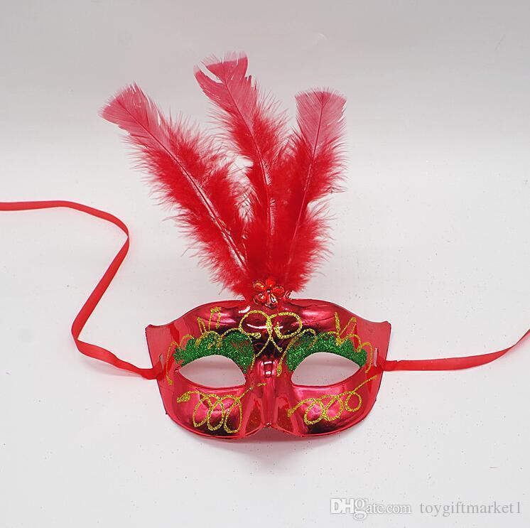 Mignon Belle Mini Plume Masque Sexy Halloween Décoration Vénitienne Mascarade Parti Fleur Perles Princesse Lady Femmes Fille Enfant Cadeau Favors