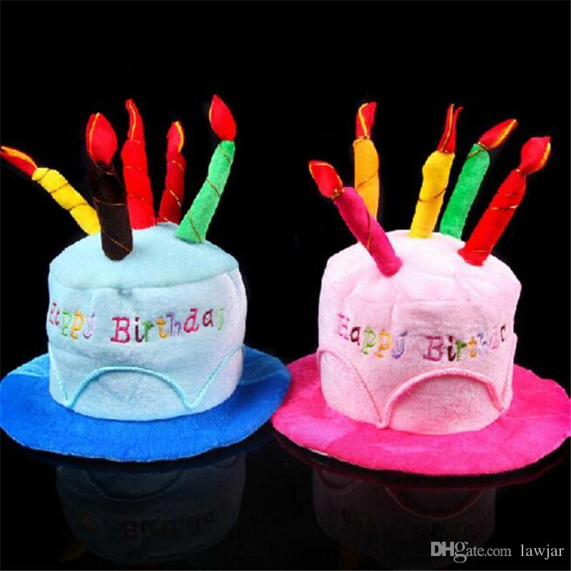 Wholesale Happy Birthday Cake Candle Funny Hat Party Costume Adult Cap Cosplay Dress Up Props 32528 Supplies Hats Online From Lawjar