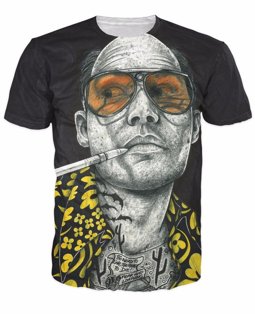 Inked Fear And Loathing T-Shirt Tattooed Johnny Depp Raoul Duke Fear and Loathing 3d Printed T Shirt Women Men Top Tees Outfits