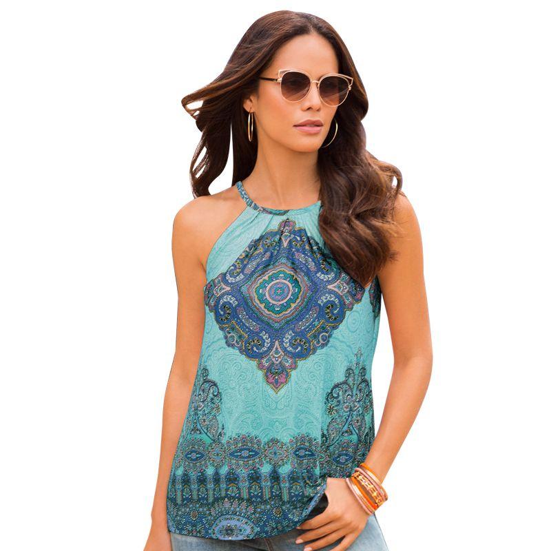9998874d697dac 2019 Women Summer Tank Tops Boho Style Tribal Print Vest Fashion Halter  Sleeveless Blouse Casual Tank Cami Haut Femme From Bestshirt007