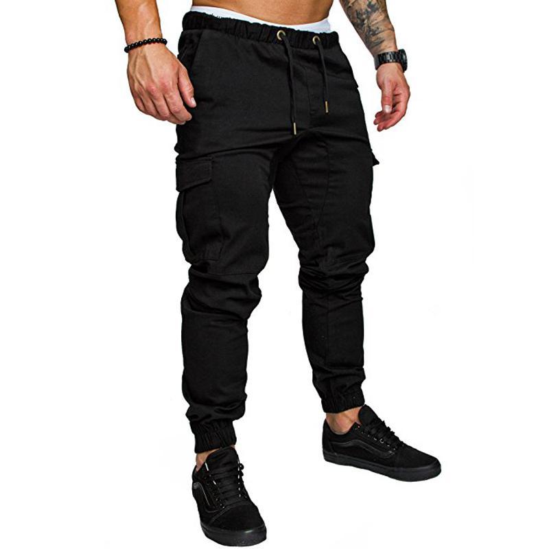 a53fd00519438 Compre Marca Masculina Nueva Moda 2018 Delgado Color Sólido Bolsillo  Decoración Hombres Pantalones Casuales Hombre Pantalones Diseñador Mens  Joggers A ...