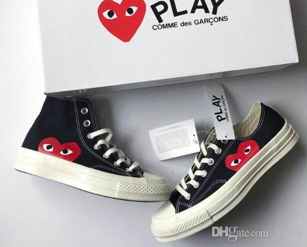 2019 New Converse Play All Stars Shoes CDG Canvas With Eyes Hearts Brand  Beige Black Designer Casual Running Skateboard Sneakers 35 44 Flat Shoes  Yellow ... b34a46832f