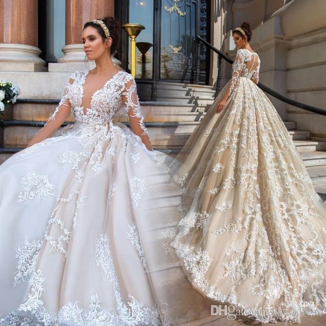e476f1c305dcc Luxury Ball Gown Champagne Wedding Dresses Church Plugging Neck Floral  Applique Lace Plus Size Country Bridal Gown With Long Sleeve
