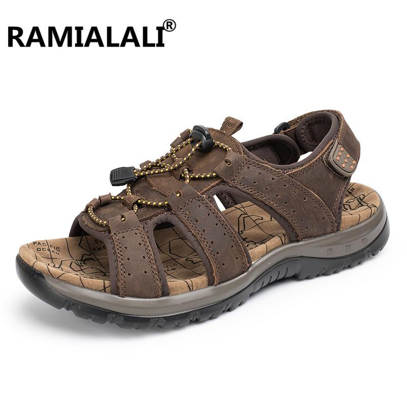 63211b4cf943 Ramialali Outdoor Leather Sandals Handmade Hollow Men Shoes Summer Leather  Shoes Top Quality Beach Sandalias Beach Soft Bottom Blue Shoes Cheap Sandals  From ...