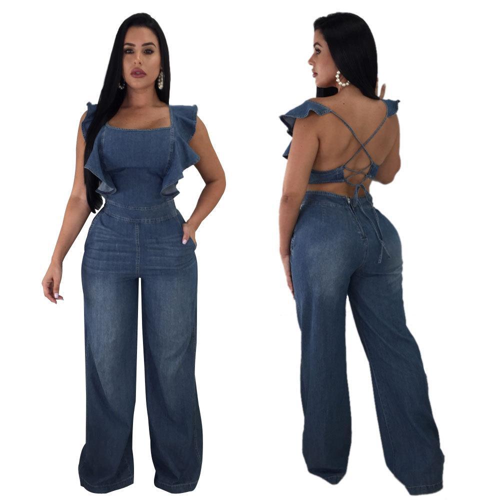5c197db2d992 2019 Women S Sexy Cross Backless Denim Romper Ruffle Wide Leg Long Pants  Jumpsuit Clubwear Blue Sizes  S