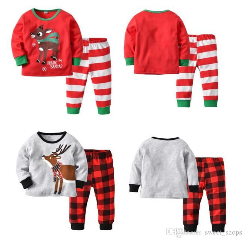 kids christmas pajamas set xmas elk deer sleepwear striped plaid nightwear  bedgown children sleepcoat pajama casual 431c6baae