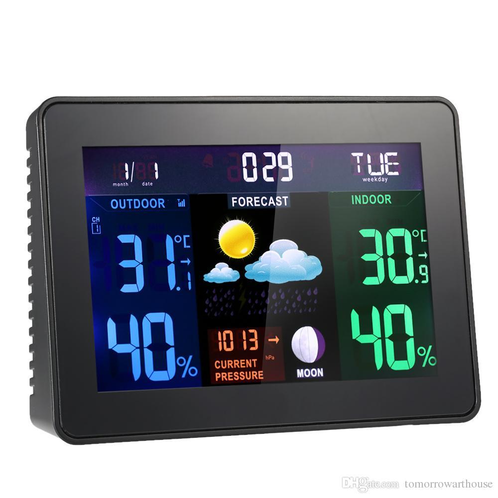 e11512320 Compre Multifuncional LCD Digital Estación Meteorológica Inalámbrica Reloj  Alarma Función De Snooze Termómetro De Interior Al Aire Libre Higrómetro ...