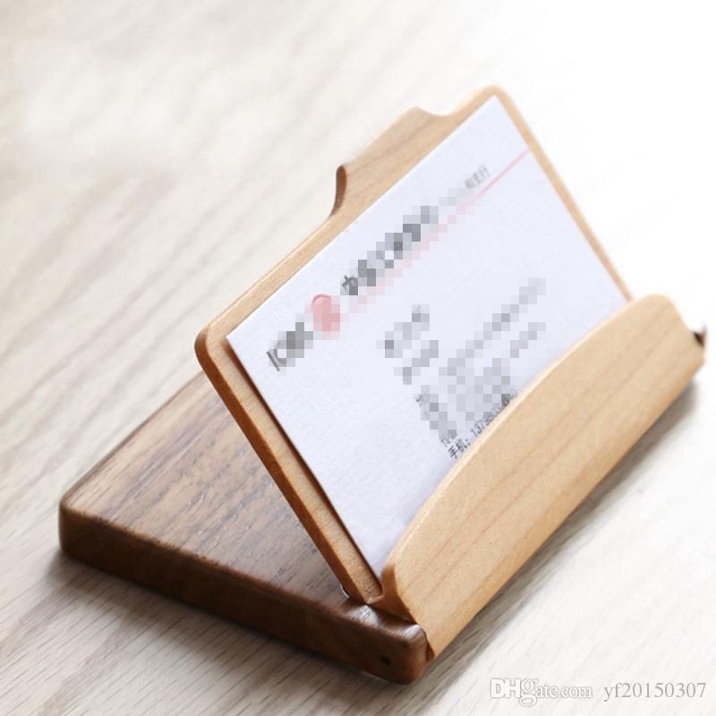 Acheter Boite De Rangement En Bois Pour Cartes Visite Bureau Decoration Carte Credit ID Titulaire La Caisse Organisation Gros Livraison