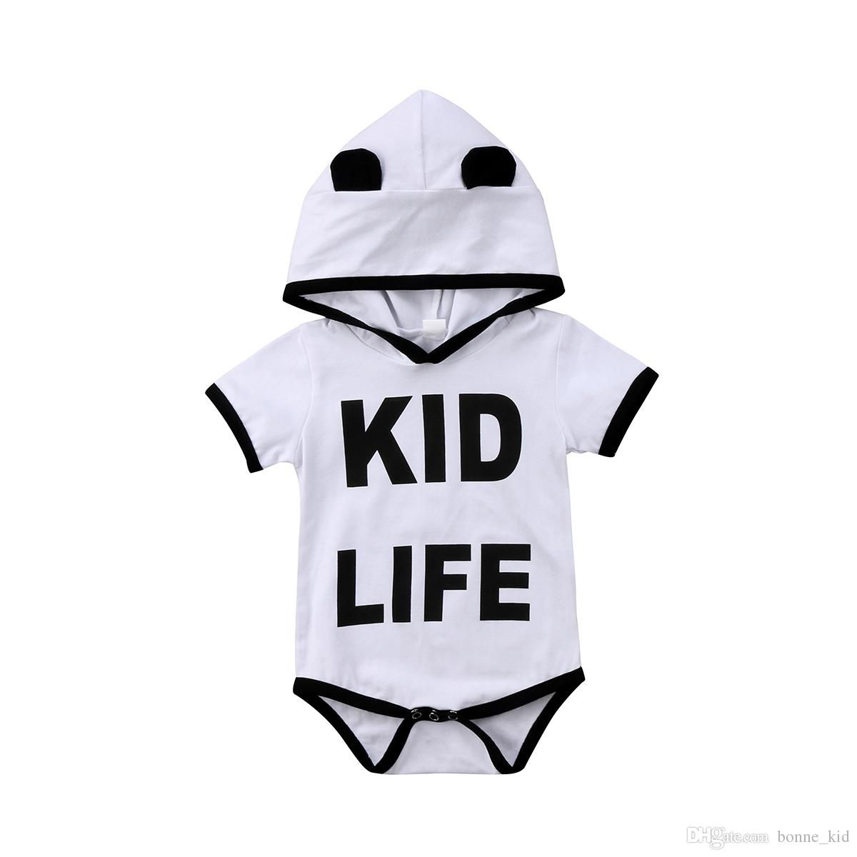 394fffdc6378 Infant Baby Girl Boy Clothes Hooded Romper Onesies Letter Print ...