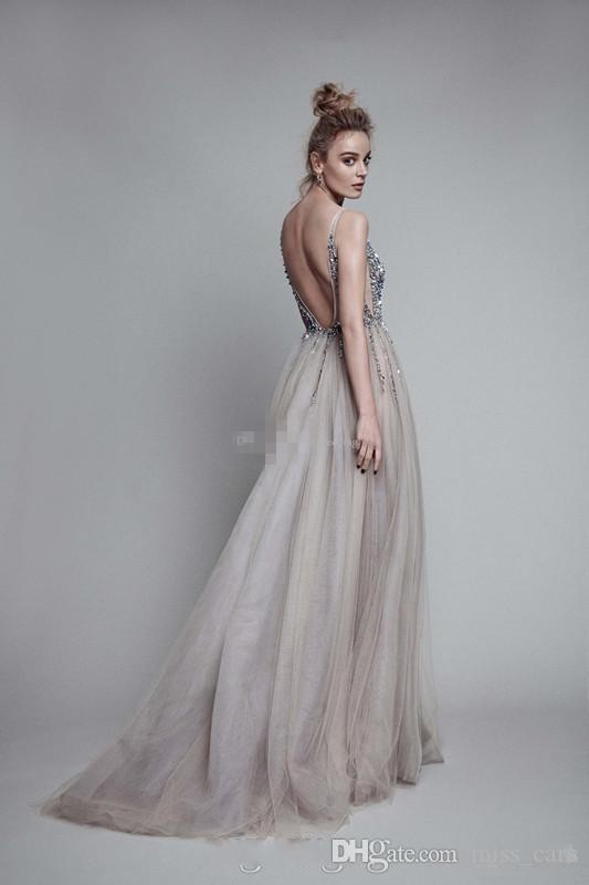 Sexy Gray Berta Prom Dresses Deep V Neck Sequins Tulle High Split Long Evening Gowns Sheer Backless Party Gowns