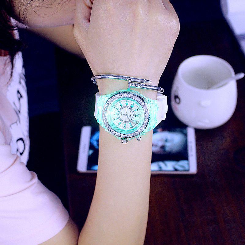 Светящиеся алмазные часы США мода тенденция мужчины женщина часы любовник цвет LED желе силикон Женева прозрачный студент наручные часы пара подарок