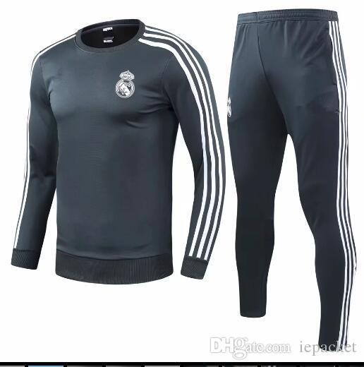 Compre TOP THAI QUALITY Nuevo 2018 19 Real Madrid Masculino Fútbol Chandal Blanco  Fútbol Ropa Deportiva 18 19 Adulto Negro Entrenamiento Traje Medias ... 7d4853eb47761