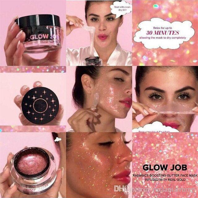Wholesale glow job mask boosting glitter face mask infused with real gold 50ml mask DHL shipping