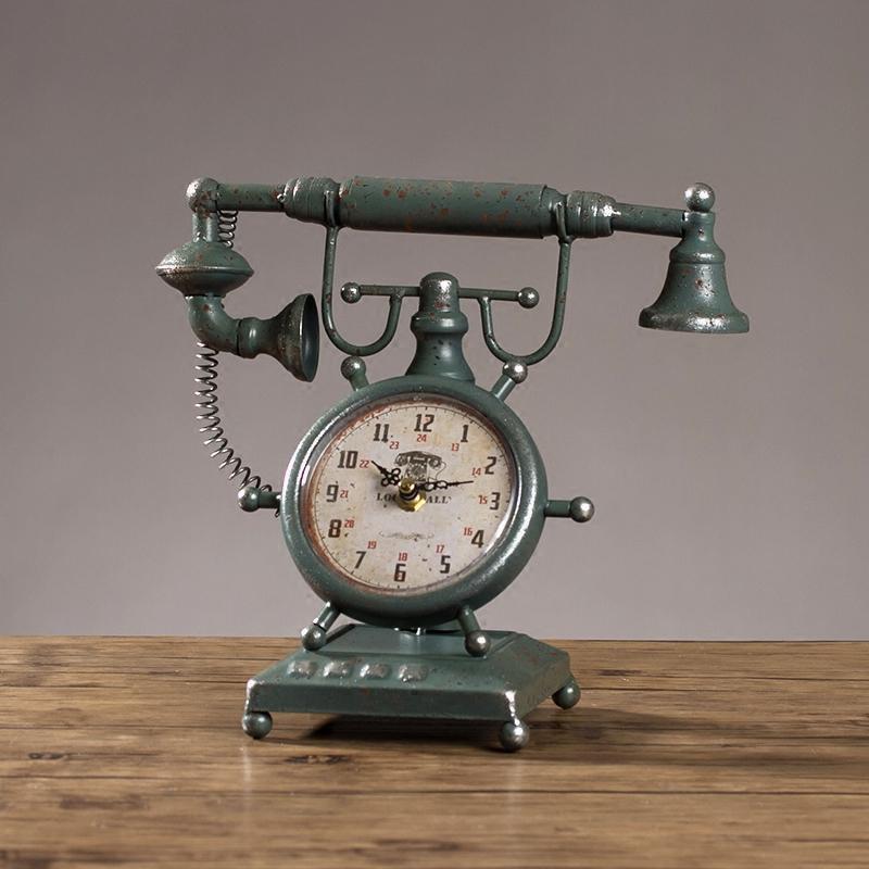 792ea085171 Compre   A Estilo Antigo Relógios Relógio De Mesa Retro Ferro Antigo Tipo  De Aeronave Modelo Presente Quarto Relógio De Mesa Sala De Estar Decoração  ...