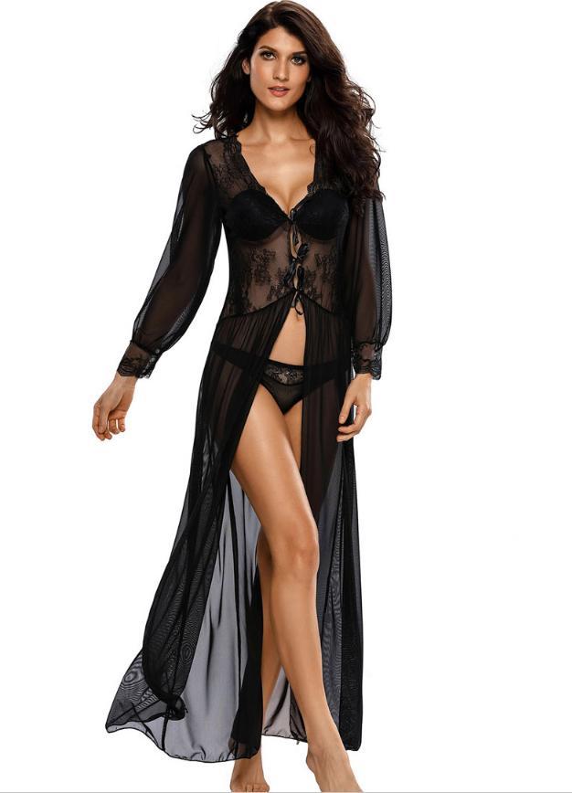 48df8c220c Woman Summer Sexy Lace Night Dress Babydoll Lingerie Night Casual Home Sexy  Fabric Lace Stitching V Collar Belt Long Sleeve S923 Pyjamas Satin Satin  Pajamas ...