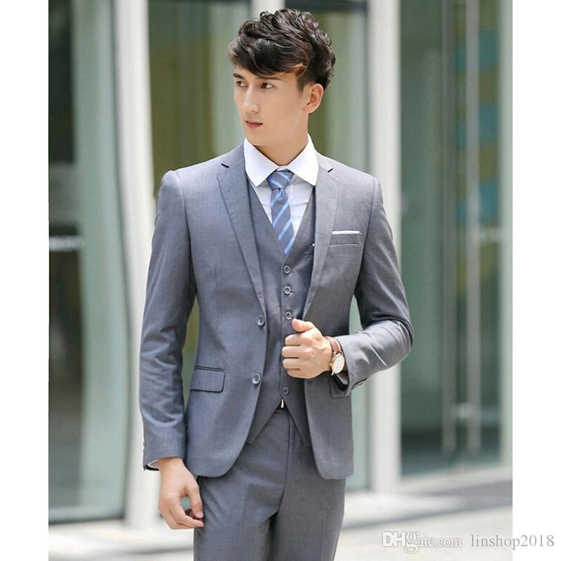 Custom Made Light Grey Due Bottoni Notch Risvolto Uomini Abiti Slim Fit Wedding Groom Costume Smoking Abiti (Blazer + Pantaloni + Gilet) K583