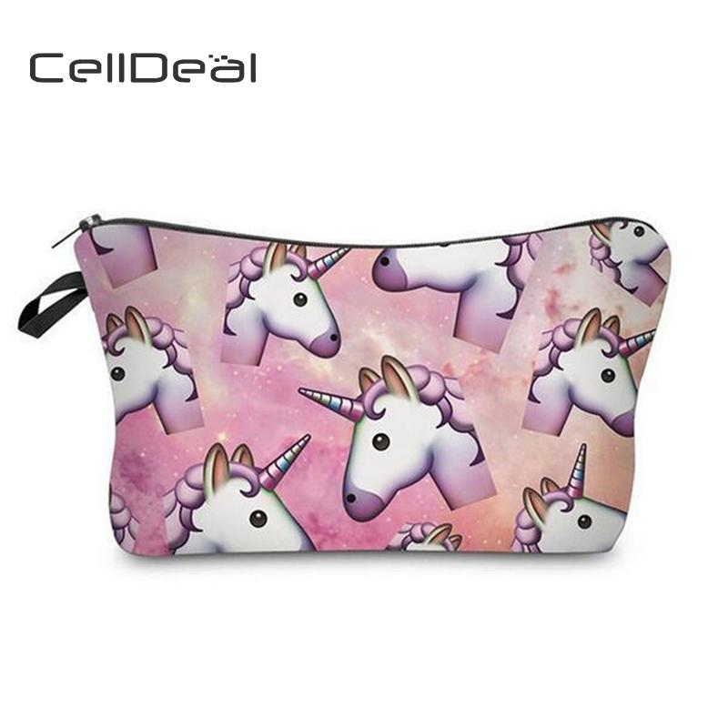 1b93a28319e6 CellDeal Women Artist Unicorn Printed Cosmetic Bag Fashion Popular Make Up  Bag 12 Patterns Girl Daily Leisure Style Makeup Bags