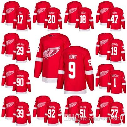 47ad559e9b0 2018 Stitched Detroit Red Wings Jersey Mens Gordie Howe 19 Steve ...