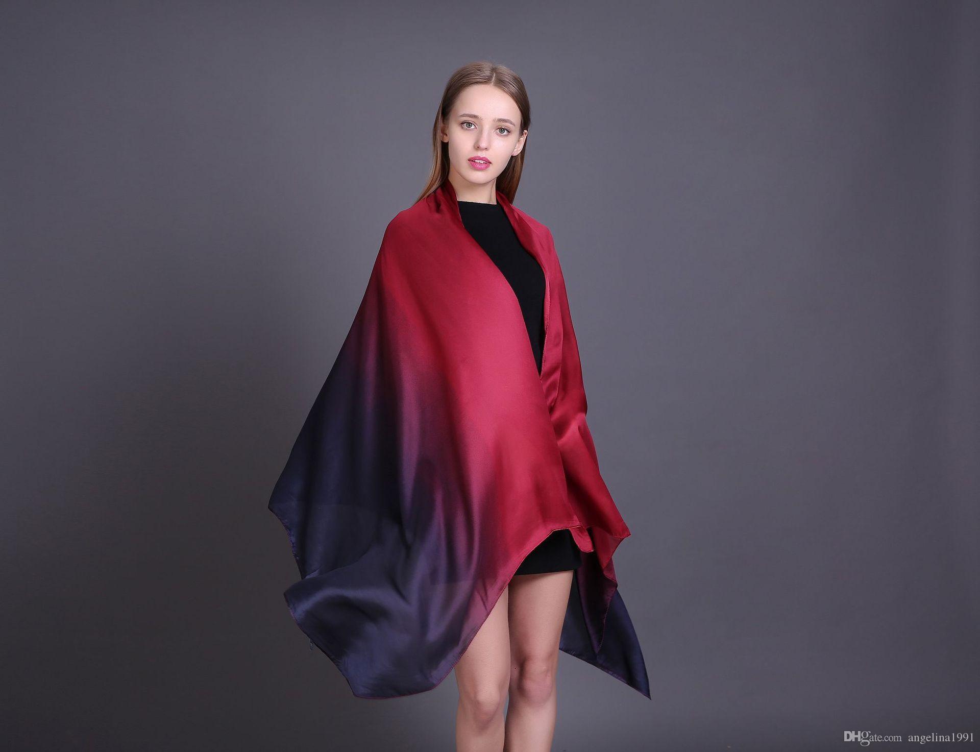 Moda Seda amoreira cachecóis de seda cachecol de seda mulheres de cabelo fino longo cachecol cor primavera e outono toalha de praia