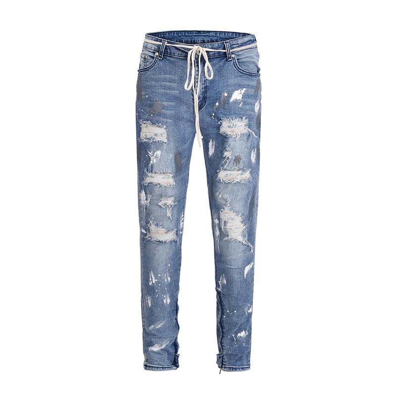 Acquista Jeans Strappati Uomo Slim Fit Skinny Distressed Vernice Jeans  Jeans Uomo Hip Hop Streetwear Punk Fori Cowboys Biker Stretch A  88.13 Dal  Sacallion ... 1651aa8d87db