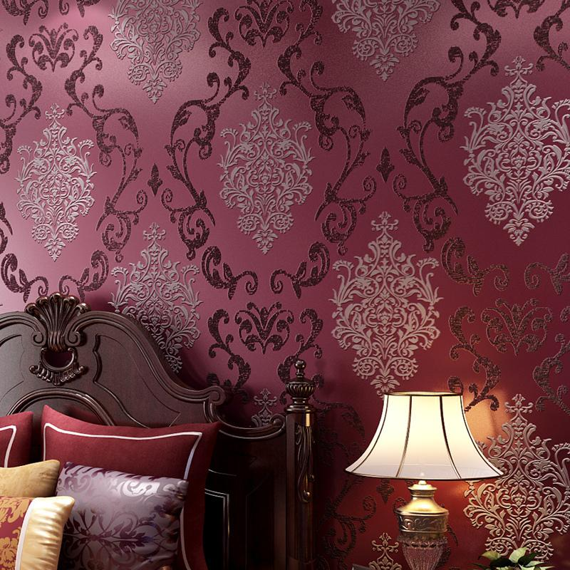 KALAMENG Classic European Style Roll Paper Damask Embossed Flocking Wall  Covering 3d Papel De Parede Wallpaper Wallpaper New Design Hot Sale Online  with ... 1e24e54b70fc