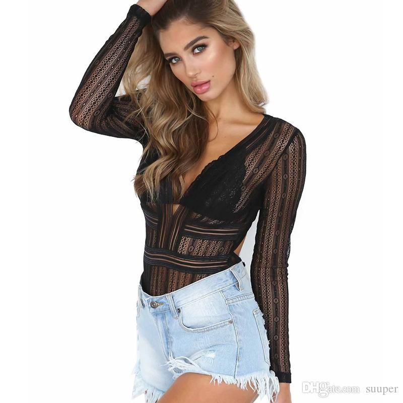 384dfe4ab6c3 2019 Sexy V Neck Lace Bodysuits Women Overalls Female Jumpsuits Semi Sheer  Bandage Playsuits Skinny Clubwear Party Bodysuit From Suuper, $24.02 |  DHgate.Com