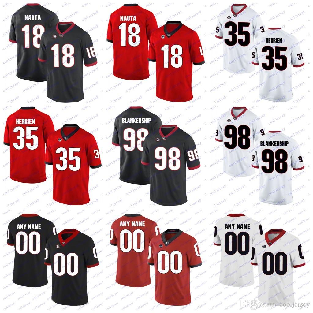 new concept 9e406 c6d6b Custom Georgia Bulldogs College Football #98 Rodrigo Blankenship 35 Brian  Herrien 18 Isaac Nauta 13 Elijah Holyfield Jerseys Black White Red
