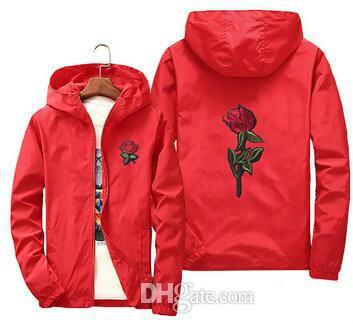 Rose Jacke Windjacke Männer und Frauen Jacke neue Mode weiße und schwarze Rosen Outwear Mantel