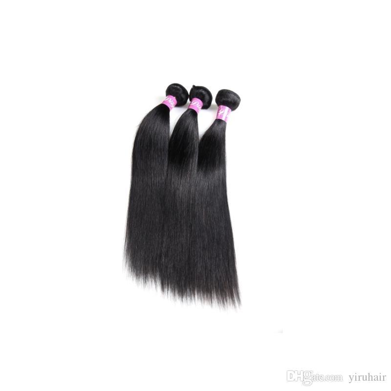 Бразильские девственницы человеческие волосы 3 пакета 30-40 дюймов длинные дюймы прямые наращивания волос двойные WEFTS 95-100G / Piece Bundles