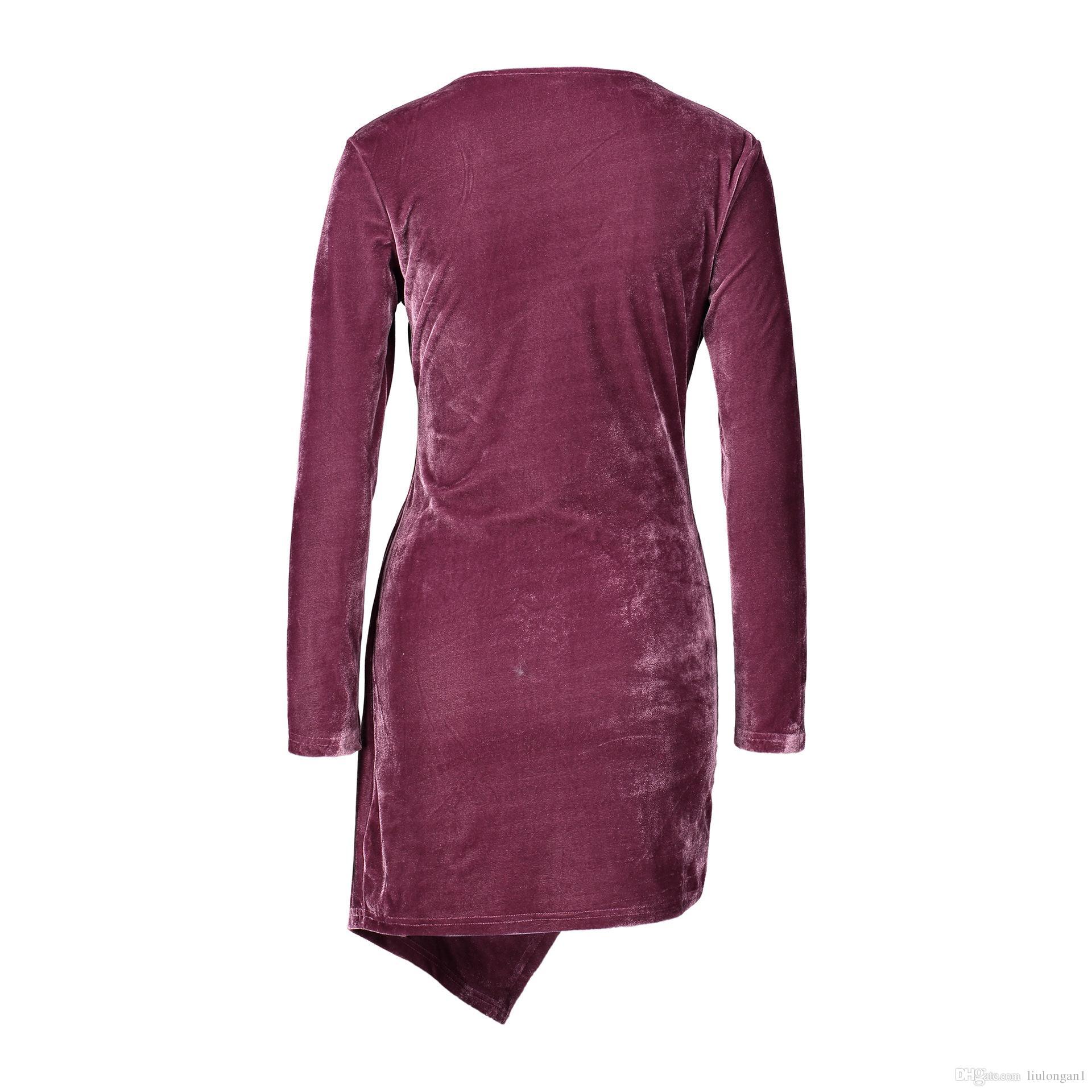 Партия Bodycon тонкий сексуальный бархат платье женщины 2018 весна осень зима с длинным рукавом V шеи черное платье халат femme