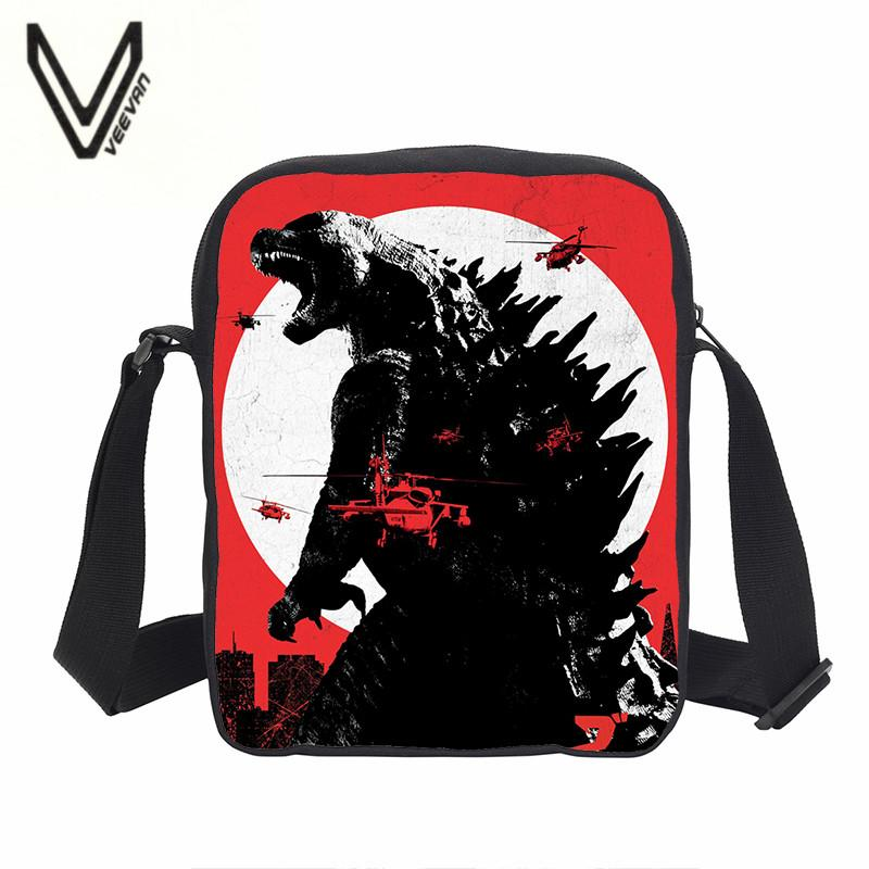 VEEVANV 3D Science Science Fiction Monster Godzilla Serie Fashion Casual Style Portable Satchel Piccola borsa di un meraviglioso regalo