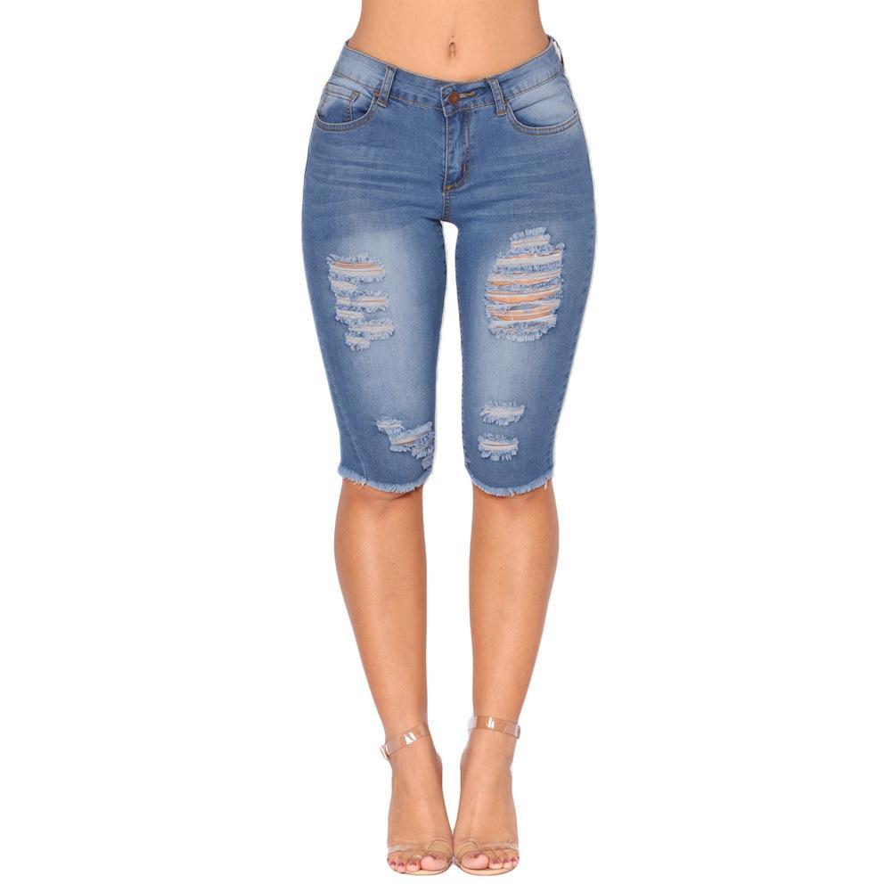 5e54be864042 Acheter Genou Longueur Stretch Jeans Déchiré Pour Femmes Trous Plus La  Taille Denim Shorts Avec Taille Haute Jeans Femmes Femme Jean Femme De   58.3 Du ...