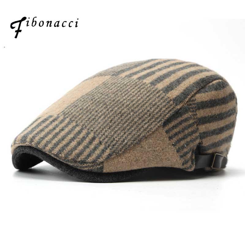 Compre Fibonacci Homens Mulheres Moda Casual Boinas De Lã Chapéu Patchwork  Plano Newsboy Caps De Geworth 0732b08907d